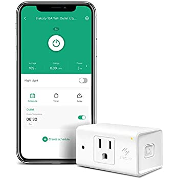 Etekcity WiFi Smart Plug Mini Outlet with [Automatic Night Light], Compact Design, Heavy Duty with Energy Monitoring, No Hub Required, Works with Alexa and Google Home, ETL Listed, White, 15A/1800W