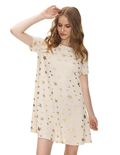 OEUVRE Women's Metallic Star Tunic Stretch Dress Short Sleeve Jersey Plus Size Beige 16