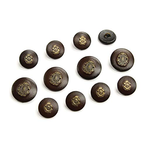 (Set of 12 Dark Brown Leather Buttons with Inset Metal Crests, Made in)