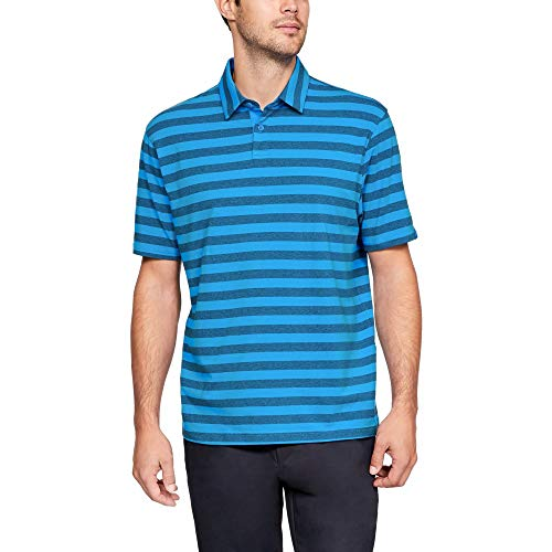 Under Armour mens Charged Cotton Scramble Stripe Golf Polo, Blue Circuit (436)/Blue Circuit, X-Large
