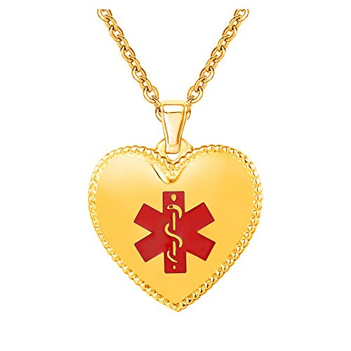 (BAIYI Custom Engraved 316L Heart Medical Alert ID Necklace Gold 20