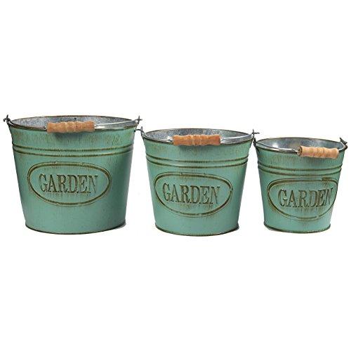 Vintage Planter Buckets - 3-Set Garden Bucket with Handle, Galvanized Metal Pail, Ideal for Planting, Decoration, Storage, Aquamarine, 3 Sizes