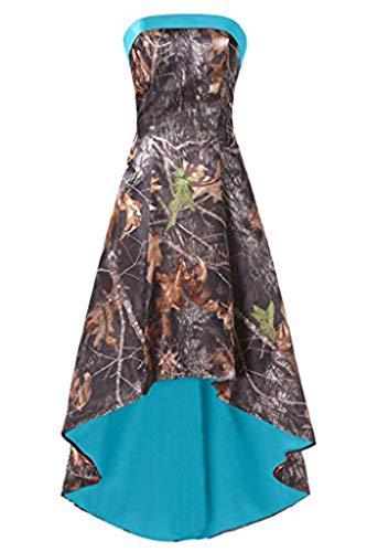Ci-ONE High Low Homecoming Dress Short Camo Wedding Bridesmaid Dresses Blue, 6