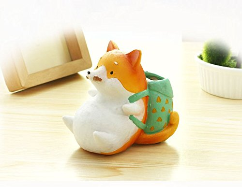 SWONVI (TM) Decorative Dog Design White Mini Resin Plant Flower Pot Succulent Planter w/ Saucer Have drainage hole (Backpack Dog)