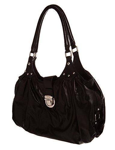 For women Toned Handbags Flap Hobo Handbag Black by All handbag Silver Shoulder Large vgqSIOxg