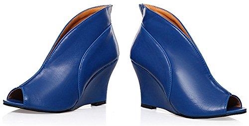 Comfort Fish Blu Casual Toe Sandali Wedge gladiatore alti Scarpe Bocca Tacchi Dress Peep Donne freddi Ufficio Stivali Sandali Carriera qtzwU