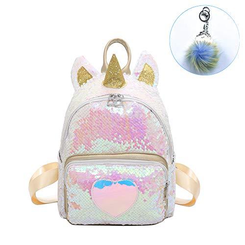 CCUT Sequin Unicorn Backpack Rainbow Backbag Toddler Kids Backpacks Cute Plush Little Girls Boys Animal Backpacks Gifts (B - Gold)]()