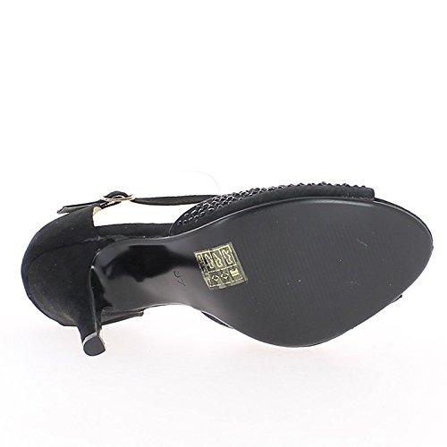 ChaussMoi Zapatos Negros con Tacones DE 10.5 cm y Bandeja Abierta Frontal y Los Lados
