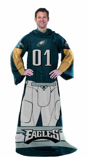 Officially Licensed NCAA Philadelphia Eagles Full Body Player Adult Comfy Throw Blanket, 48