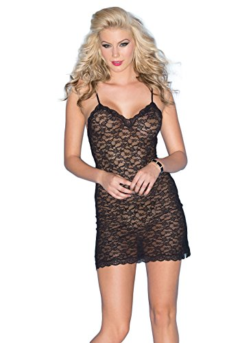 Be Wicked Women's Stretch Lace Chemise, Black, Medium by Be Wicked