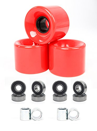 FREEDARE 58mm Skateboard Wheels 82a + ABEC-7 Bearing Steel and Spacers Cruiser Wheels (Red, Pack of 4) (Best Skateboard Wheels For Rough Roads)