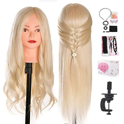 Mannequin Head, Beauty Star 24 Inch Creamy-White Long Hair Styling Training Head Manikin Cosmetology Doll Head with Clamp Stand and Accessories (Suitable for Straightening, Curling, Perming) (Types Of Human Hair And Their Prices)