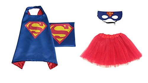 [Rush Dance Kids Children's Deluxe Comics Super Hero CAPE & MASK & TUTU Costume (Blue Superman (Red] (Ariel Blue Dress Costumes)