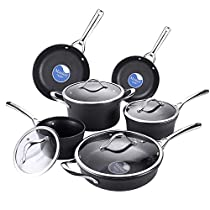 AMERICOOK 10 Piece, Black, Nonstick Pots and Pans Set - Hard Anodized Cookware Set with Nonstick Ceramic Coating - Pots and Pans with Glass Lids and Stay-Cool Stainless Steel Handles - Oven Safe