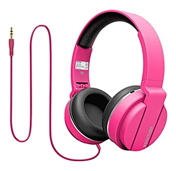 85fac03bbf7 Promate Lightweight Over the Ear Stereo Headphones Wired Headset with  Padded Foldable Headband, PINK