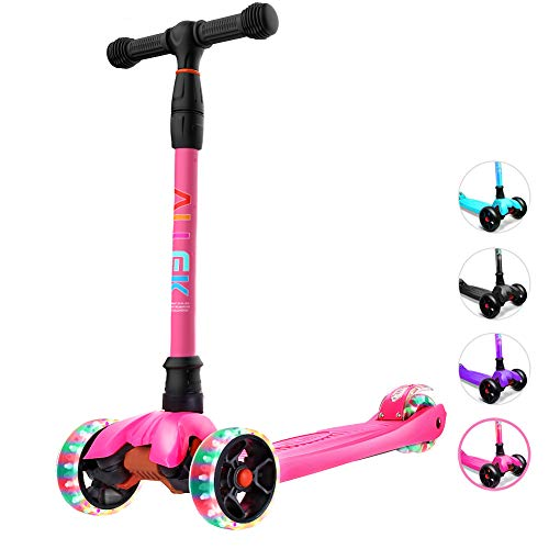 Allek Kick Scooter, Lean N Glide Scooter with Extra Wide PU Light-Up Wheels and 4 Adjustable Heights for Children from 3-14yrs (Rose Pink)