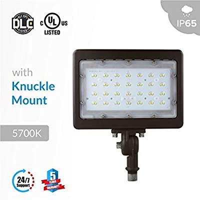 50W LED Flood Light with Knuckle Mount (Replaces 300W), 6250 Lumens, 5700K, Bronze Finish Outdoor Security Light, UL cUL DLC Listed, IP65 Rated Suitable for Doorways, 5 Years Warranty by LEDMyplace