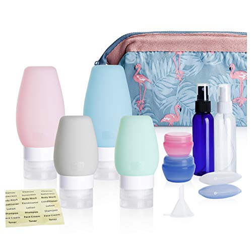 Nipoo Silicone Travel Bottles TSA Approved Leak Proof with Labels and Toiletry Bag, 11 Pcs Travel Size Containers Accessories for Toiletries Shampoo Conditioner and Other Liquid 2 3 OZ