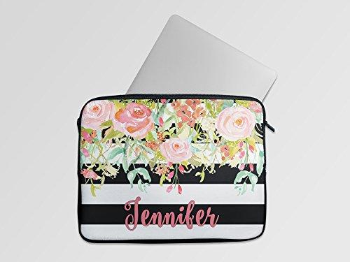 Personalized Laptop Neoprene Sleeve  - Black Stripe Floral