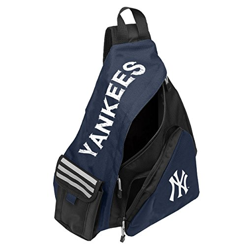 - Officially Licensed MLB New York Yankees Leadoff Sling Backpack, 20-Inch, Black/Navy