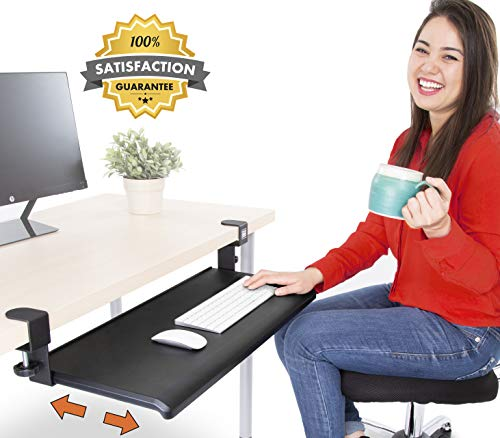 Shelf Keyboard Adjustable (Stand Steady Easy Clamp On Keyboard Tray - Large Size - No Need to Screw into Desk! Slides Under Desk - Easy 5 Min Assembly - Great for Home or Office!)