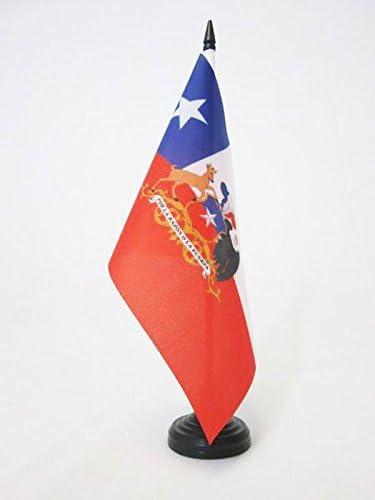 Piccola BANDIERINA CILENA 14 x 21 cm AZ FLAG Bandiera da Tavolo Cile con Stemma 21x14cm