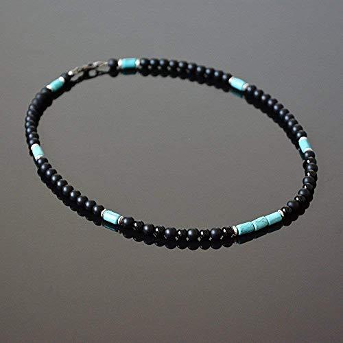 Onyx Choker - Native American Inspired Surfer Handmade Beaded Choker Mens Necklace Black Onyx and Howlite Natural Stone Choker for Men