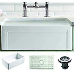 Farmhouse Kitchen Empire Industries OL27G Olde London Reversible Farmhouse Fireclay Kitchen Sink with Grid and Strainer, White farmhouse kitchen sinks