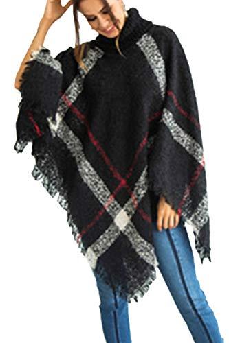Pull D'hiver Manteau Femmes Noir Irrégulière Chandail Cape Outwear En Tricot Top xAqSUT