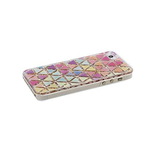 iPhone 5S Coque, iPhone 5 5C 5G étui, [Bling Bling Glitter Fluide Liquide Sparkles Sables] iPhone SE Case, iPhone 5 Cover, Shell-(Triangle arc-en-ciel), anti- chocs & Bouchon anti-poussière