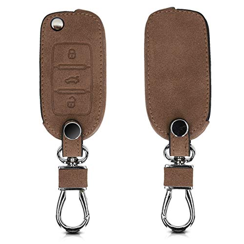 kwmobile Car Key Cover for VW Skoda Seat - Synthetic Suede Protective Key Fob Cover Case for VW Skoda SEAT 3 Button Car Key - Brown