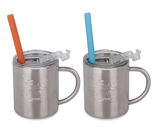 Housavvy Rabbit Stainless Steel Kids Handle Cups with Lids and Straws, 2 PACK by Housavvy (Image #1)