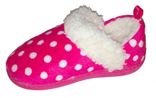 Girls Pink and White Polka-Dot Warm Winter Slipper, Toddler Medium (7-8)