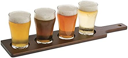 Wooden Beer Paddle Case of 10 Wooden Beer Flight Paddle for 3 Glasses