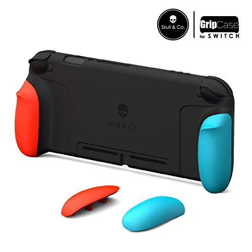 Skull & Co. GripCase: A Comfortable Protective Case with Replaceable Grips [to fit all hands sizes] for Nintendo Switch [No Carrying Case]- Neon Red & Blue