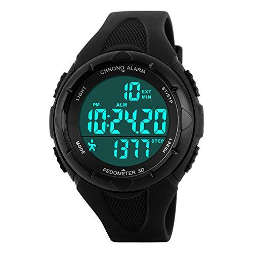 Kids Sport Digital Watch Multifunction Outdoor Waterproof Pedometer Wrist watch for boys girls (Black) by BesWlz