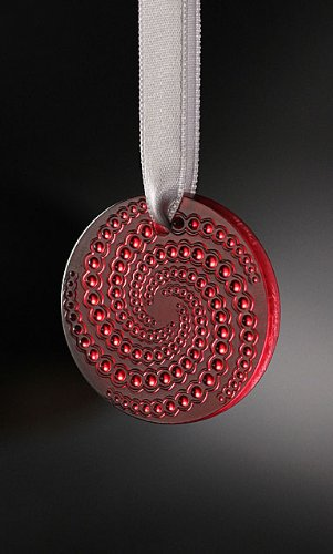 Lalique Crystal Christmas Ornament Red