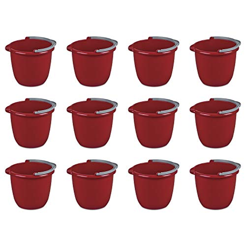 Red Bucket - Sterilite 11205812 10 Quart/9.5 Liter Spout Pail, Classic Red, 12-Pack
