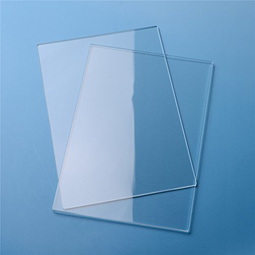 Xiaolanwelc@ 2Pcs/set 3mm Clear Acrylic Cutting Plates Plastic Transparent Sawn Cut Panels Perspex Sheet Acryl Stamping Blocks