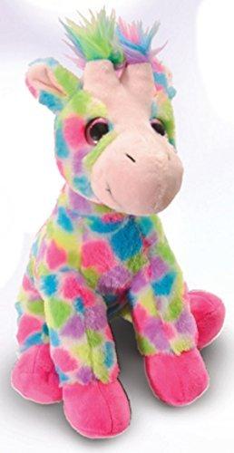 The Petting Zoo Plush Rainbow Sitting Giraffe - 12 Inches