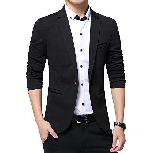 Longues Coat Blazer Casual Hommes Affaires Simple Bozevon Fit Noir Blazers Tops Manteau Boutonnage Manches Slim wqxS7Xx4T