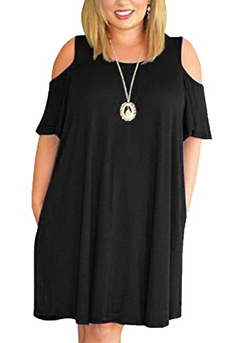 Chellysun Women Cold Shoulder Shirt Dress Plus Size Flowy Tunic Dress Solid Swing Dress with Pocket by Chellysun (Image #2)