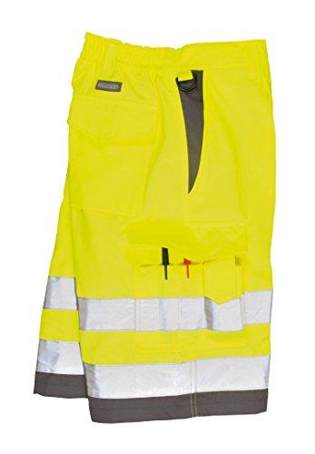 Portwest E043YGYL Hi-Vis P/C Shorts 1739.11 cc Textile, Size- Large, Yellow/Grey