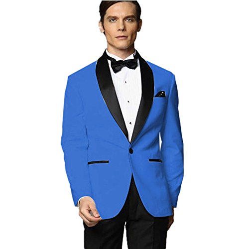 MYS Men's Custom Made Groomsman Tuxedo Blue Suit Black Pants Bow Tie Set