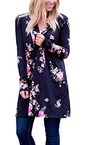ECOWISH Womens Boho Irregular Long Sleeve Wrap Kimono Cardigans Casual Coverup Coat Tops Outwear Black L