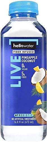 hellowater - Fiber Infused Water (Pineapple Coconut - Live) - High Fiber - 0 Sugar - 0 Net Carbs - Nothing Artificial - Low Glycemic - 16 Fl. oz. Bottles (Pack of 12) (Live Soda Kombucha)