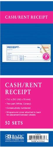 2-Part Carbonless Cash/Rent Receipt- 7 1/2'' x 2 3/4'' 144 pcs sku# 1781112MA by Bazic