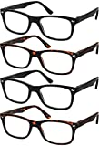 Reading Glasses Set of 4 Quality Readers Spring Hinge Glasses for Reading for Men and Women Set of 2 Black and 2 Havana +1.75