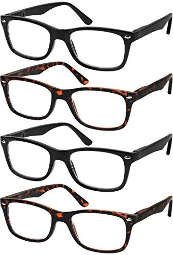 Reading Glasses Set of 4 Quality Readers Spring Hinge Glasses for Reading for Men and Women Set of 2 Black and 2 Havana ()