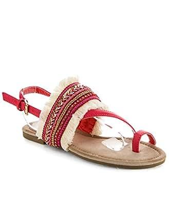 ROF Women's Ankle Strap Woven Fringe Denim Jeweled Decor Toe Ring Flat Sandals CORAL (7.5)